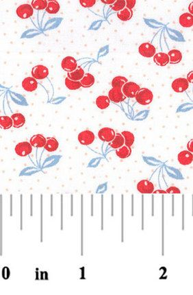 Fabric Finders - Clusters of Cherries on White Broadcloth