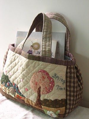 Japanese patchwork and applique style bag