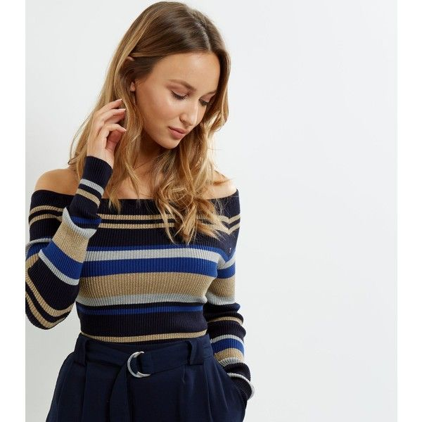 New Look Blue Vanilla Blue Stripe Bardot Neck Jumper (£22) ❤ liked on Polyvore featuring tops, sweaters, blue pattern, jumpers sweaters, stripe sweater, blue striped top, blue print top and stripe top