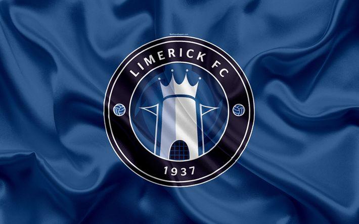 Download wallpapers Limerick FC, 4K, Irish Football Club, logo, emblem, League of Ireland, Premier Division, football, Limerick, Ireland, silk flag, Irish Football Championship