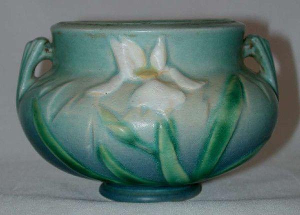 "Rare Roseville Pottery Late 1930s Blue Iris 3.5"" Bulbous Pot or Vase"