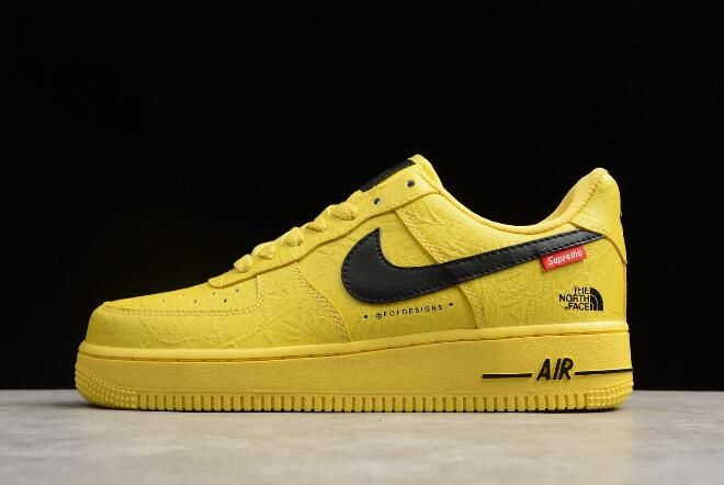 ef30088bdcc 2018 Supreme x The North Face x Nike Air Force 1  07 Yellow Black Shoes