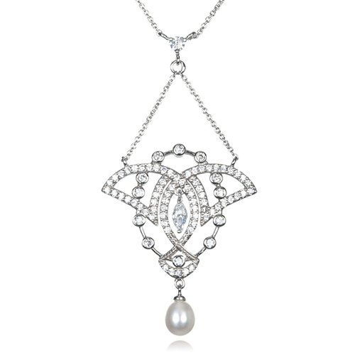 Rhodium Plated Silver White Cz Cultured Freshwater Pearl Drop Neckalce-18""