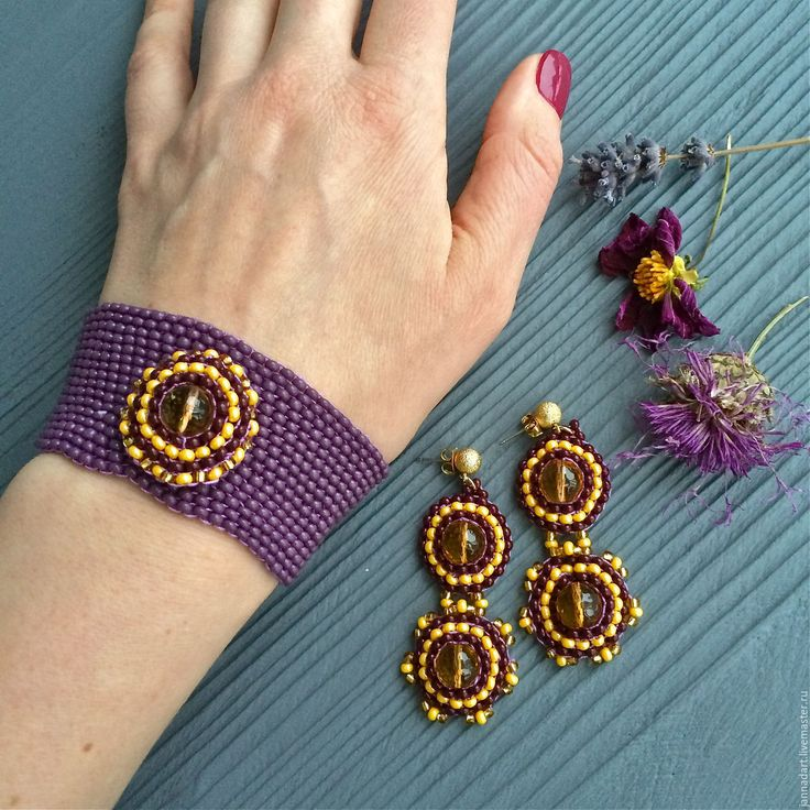 """Купить Комплект """"Бохо"""" - фиолетовый, украшения, украшения из бисера, браслет и серьги, авторские украшения"""