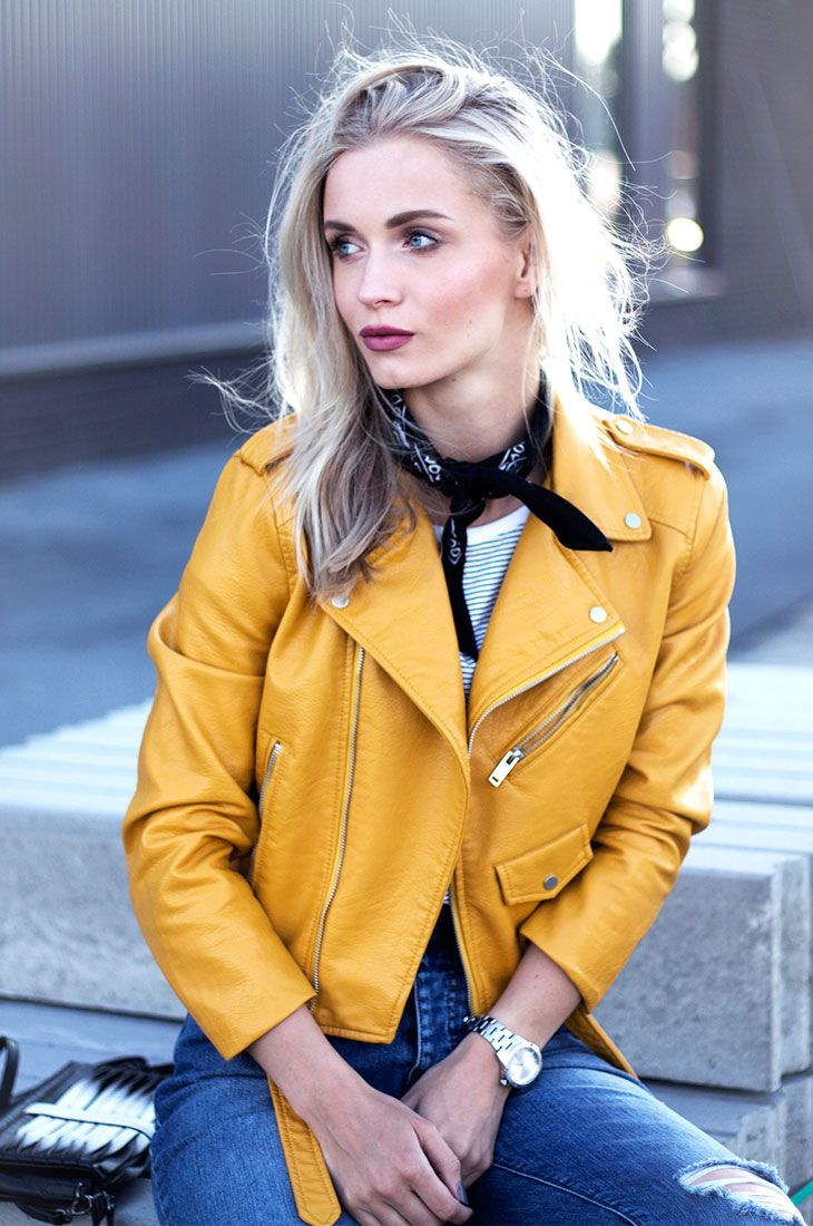 Leather jacket yellow zara - Fashion Attacks Outfit Ootd Just A Touch Of Yellow Biker Jacket