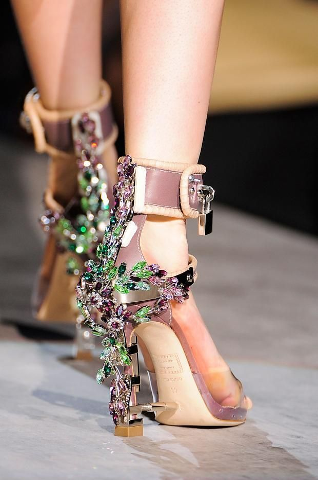 DSquared2 Bejeweled Ankle Strap Sandals Fall Winter 2014 #Shoes #Heels
