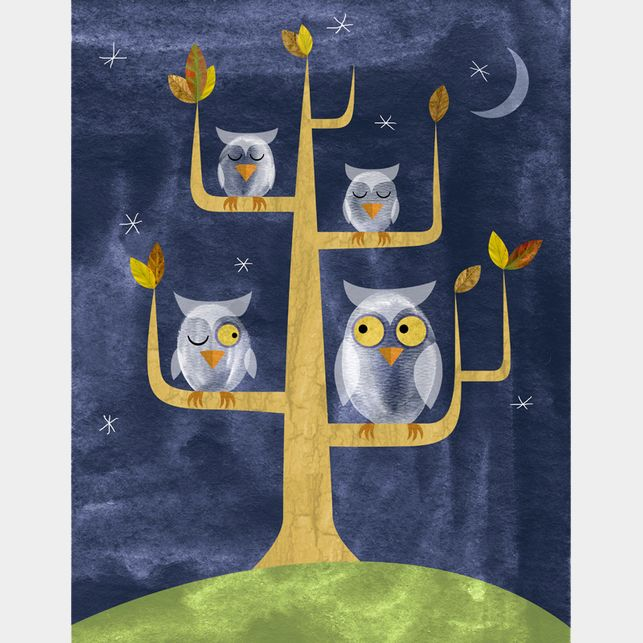 "Whooo Is There? Limited Edition Print  28.00 Three little owls snuggle in for the night. Maybe. This limited edition giclee print is printed on 100% cotton rag and signed by the artist, Joyce Hesselberth. This edition is limited to 250. Image area is 7"" x 9"". Mat measures 11"" x 14"". Room themes: owl, bird, animals, zoo, nature, purple, tan, green."