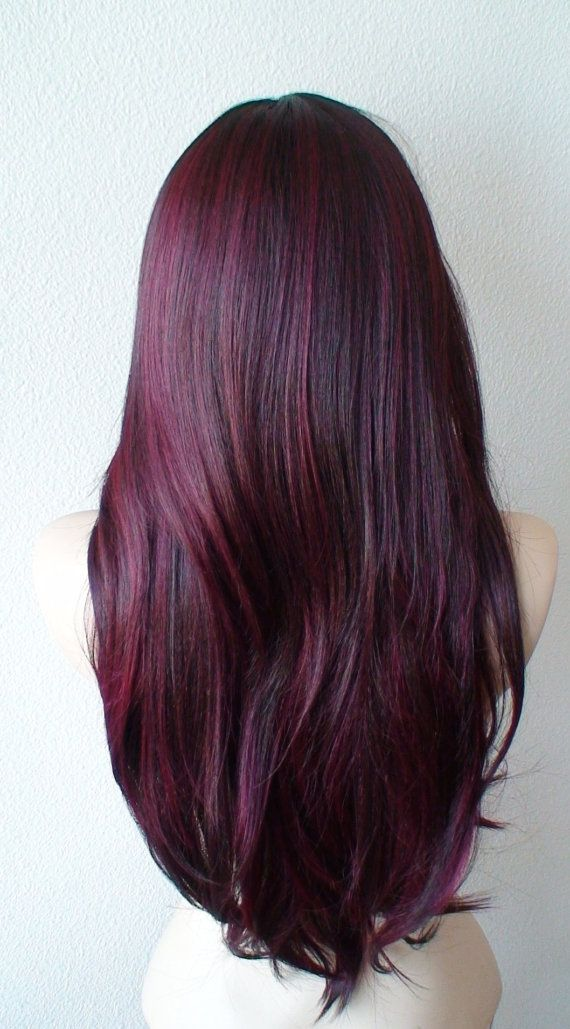 Burgundy wig. Wine red wig. Long straight volume by kekeshop