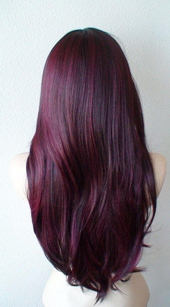 Burgundy wig. Wine red wig. Long straight volume by kekeshop