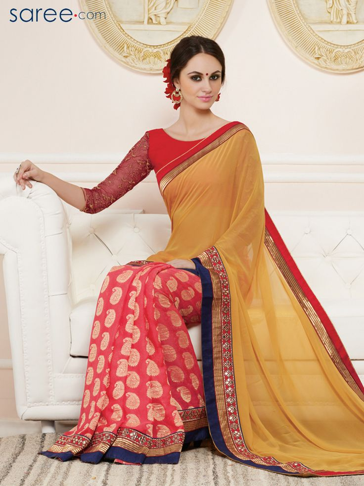 CREAM AND PINK GEORGETTE SAREE WITH EMBROIDERY WORK