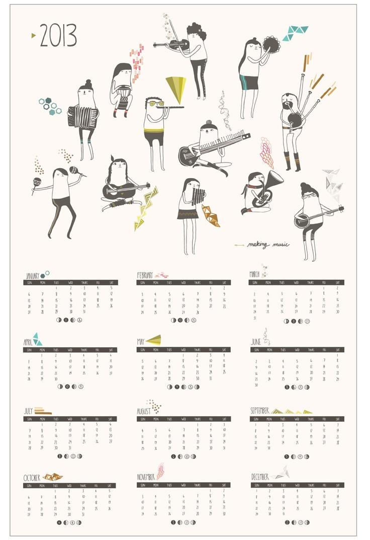 2013 Poster Calendar // Making Music. $22.00, via Etsy.