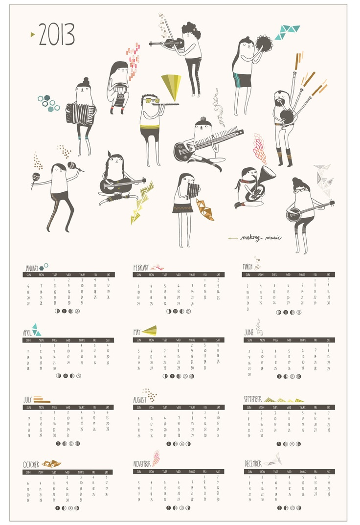 2013 Poster Calendar // Making Music. By Laura Berger $22.00, via Etsy.