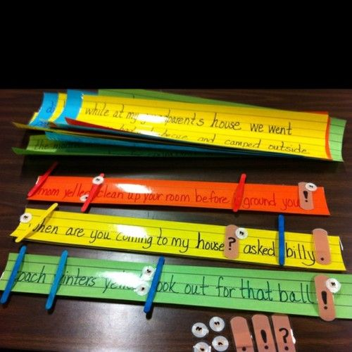 Sentence Surgery…laminated unedited sentence strips, bandaid strips for ending punctuation, small round bandages for commas and quotations, tongue depressors to mark capitalization, and 'Emergency Kit' paper bags w/ red cross on them (to keep surgery supplies). Can be adjusted to use K-6…the kids loved it!