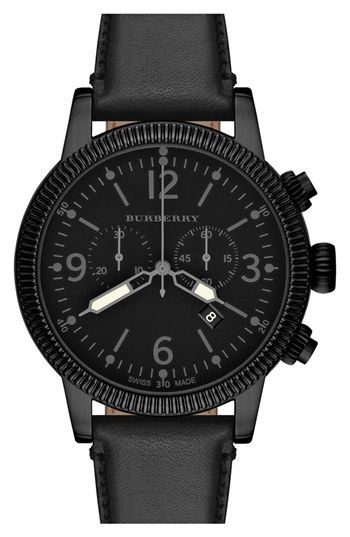 Rugged texture defines the bezel, pushers and crown of a blackened watch case designed with an easy-to-read chronograph dial and luminous markers. A matching leather strap completes the serious silhouette. Color(s): black. Brand: Burberry. Style Name: Burberry Round Leather Strap Watch, 42mm. Style Number: 913839.