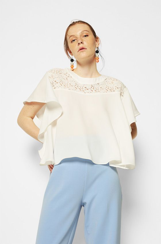 Short Sleeved Off-White Lynn | COTTONINK