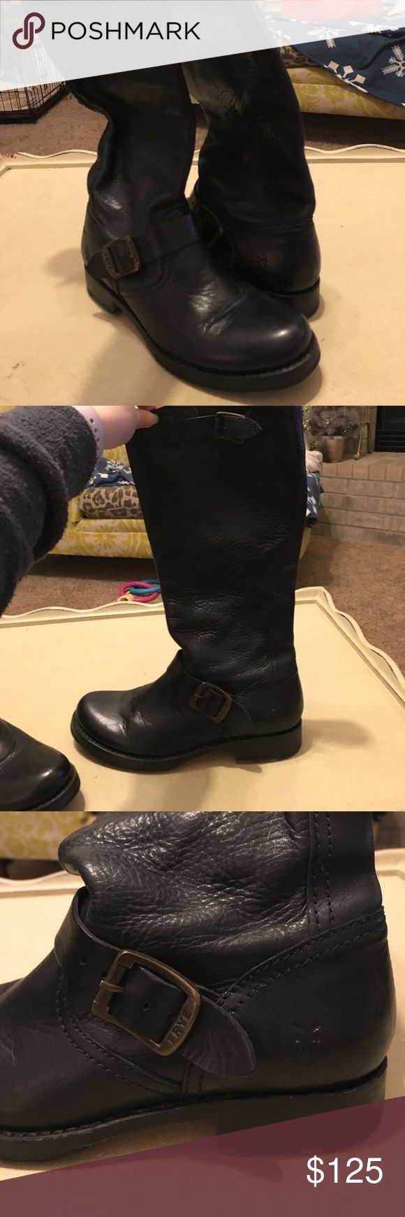 Frye Veronica Slouch size 6.5 Black These are the Frye Veronica slouch in black size 6.5.  They are in great condition. I'm a size 5.5 and these were just a little big so they could definitely fit a 6.  In the left boot a very small part of the insole has come up. Frye Shoes Combat & Moto Boots
