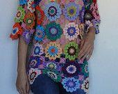 Uncinetto hippy retrò stile vintage boho zingara nonna floreale patchwork tunica abito maglione