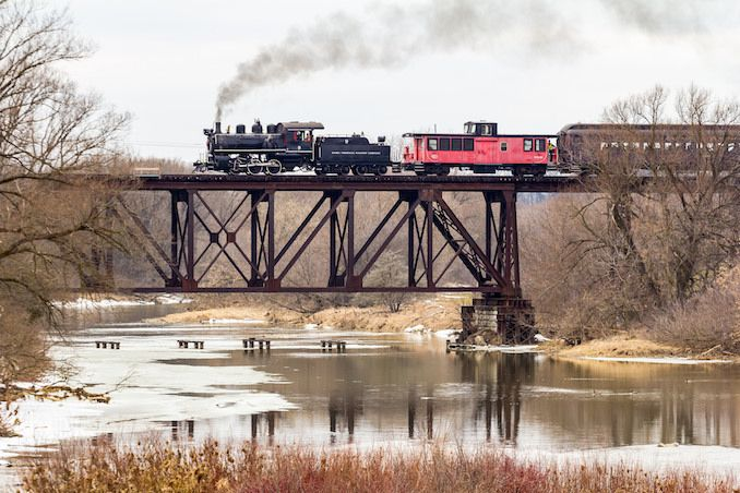 Pride of St jacobs, Waterloo Central Railway steam engine #9 passing over Conestogo River