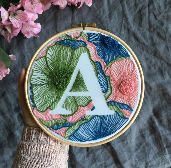 Colorful Personalized Hand Embroidery Monogram Ribbon / Custom Initial Handsewn / Custom Letter