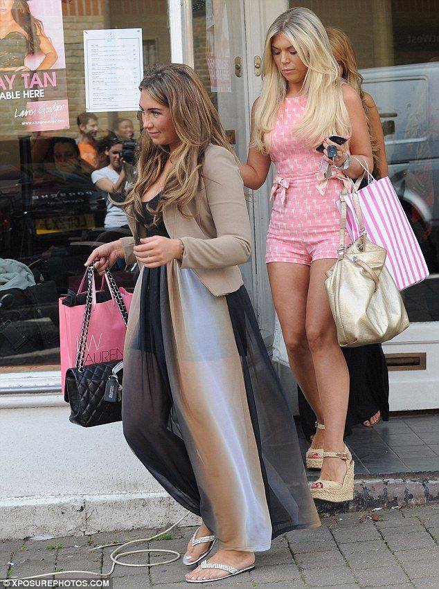 A nice change: While Frankie Essex wore a revealing playsuit, Lauren Goodger decided to cover up today, in Buckhurst Hill, Essex