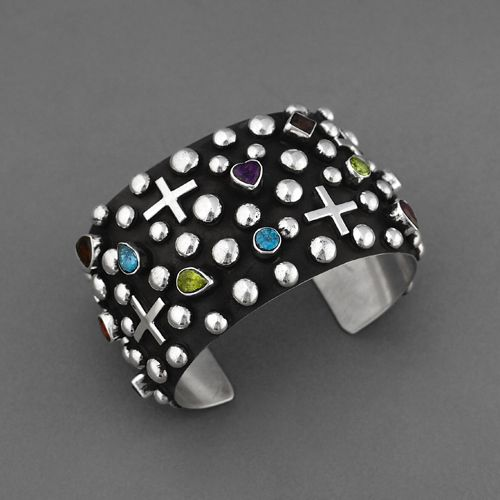 Cuff | Ronnie Willie (Navajo). Sterling Silver, Semi Precious Gem Stones