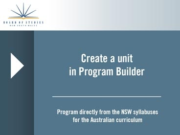 Program Builder: create scope and sequences and units