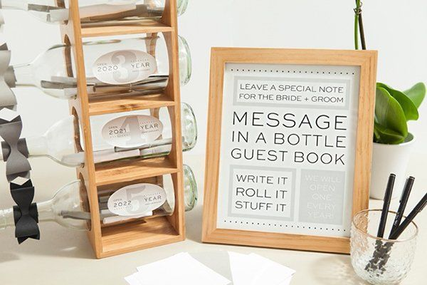 wine bottle guest book with anniversary messages