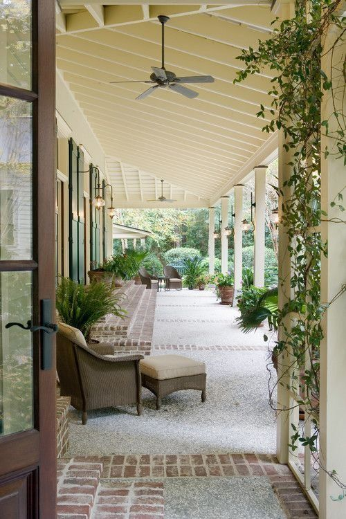Beautiful and simple covered Southern porch.