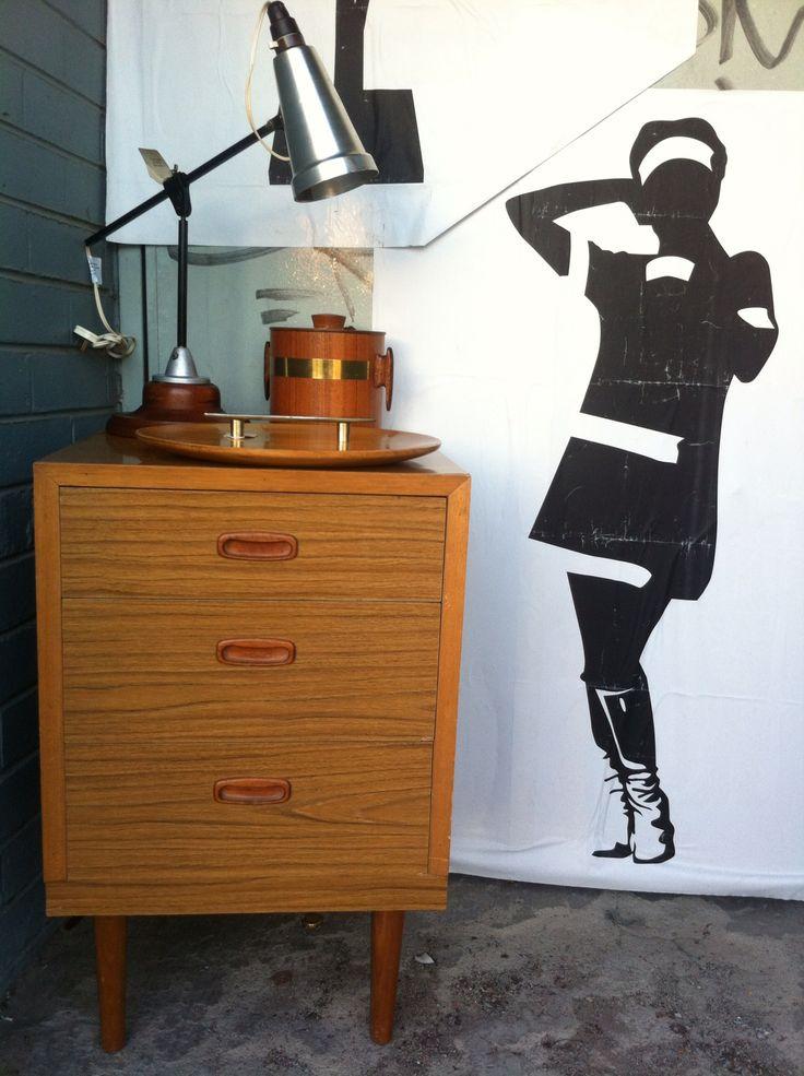 Retro set of drawers, lamp, teak ice bucket and wooden platter. All available in Vintage Design Shop in Melbourne.  www.facebook.com/VintageDesignShop
