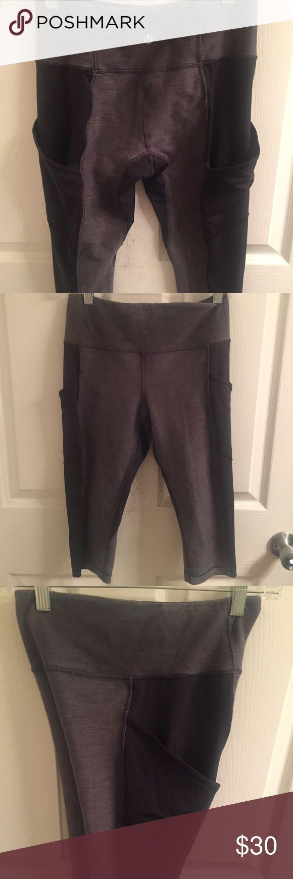 Lululemon crop pants Gray and black lulu knee length cropped pants. Pockets on side of leg. lululemon athletica Pants Track Pants & Joggers