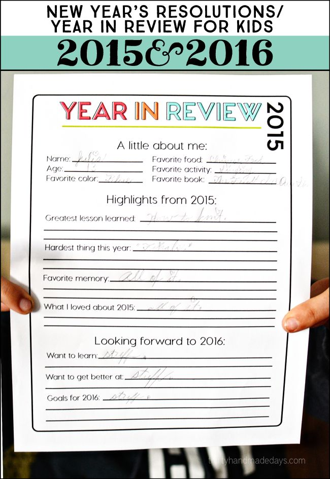 2015 Printable Year in Review for New Year's Resolutions www.thirtyhandmadedays.com