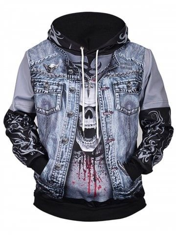 0513a483e00b Autumn And Winter Europe And America Skull 3D Print Men Hooded Sweater -  MULTI-A - XL