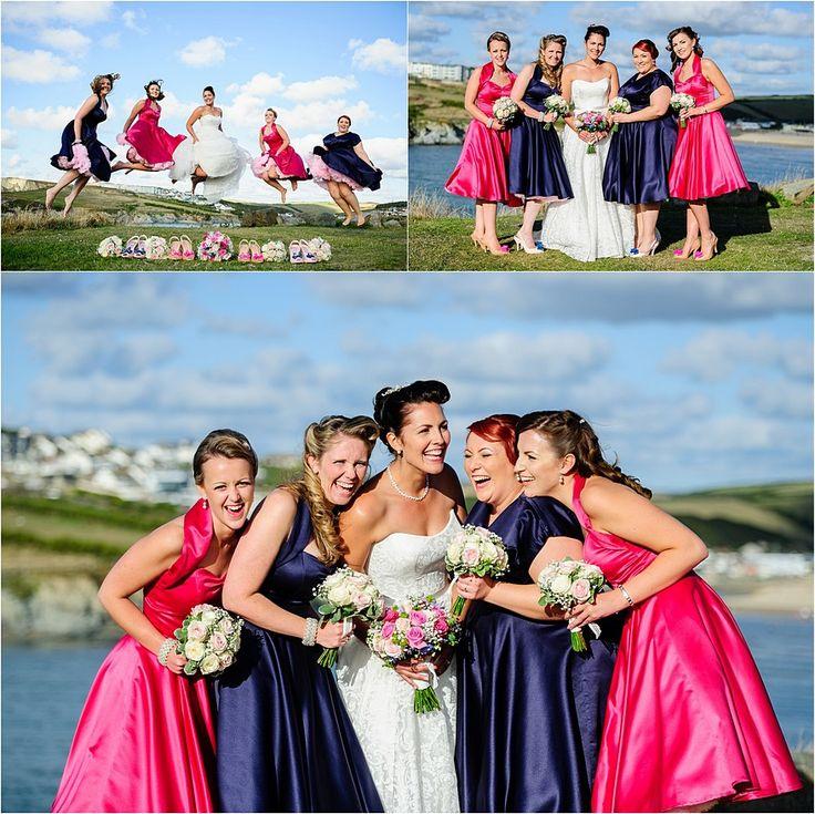 Laughing bridesmaids in Circle dresses at a Glendorgal Hotel Wedding