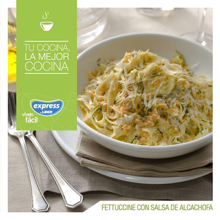 Fettuccine con salsa de alcachofas. #Pastas #Recetario #RecetarioExpress #Lider