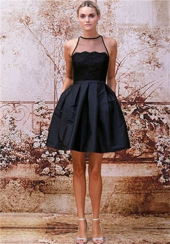 Black short lace and taffeta bridesmaid dress // 450206 from Monique Lhuillier Bridesmaids