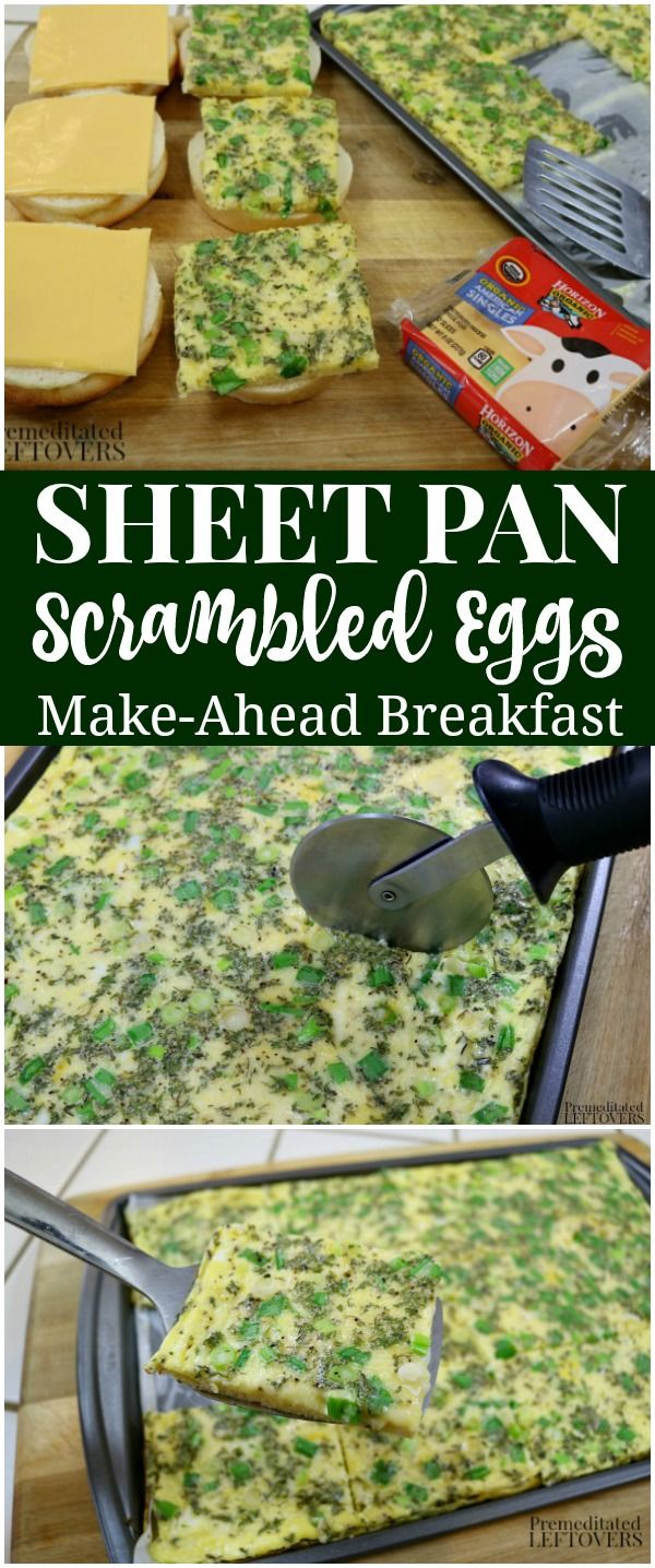 This quick and easy recipe for Sheet Pan Scrambled Eggs is perfect for busy morn…