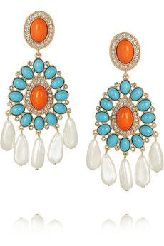 Kenneth Jay Lane Gold-plated cabochon drop earrings   THE OUTNET