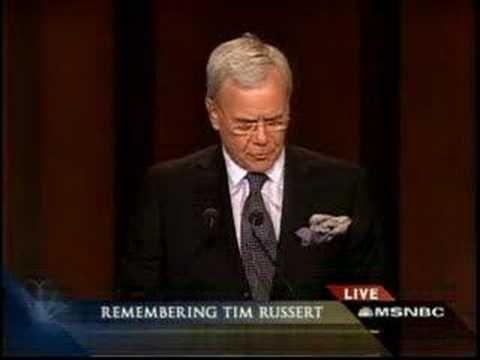 Honoring TIM RUSSERT - Tom Brokaw - Memorial Service In W.DC - YouTube