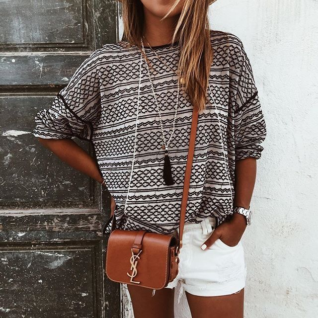 Patterned striped top, white shorts