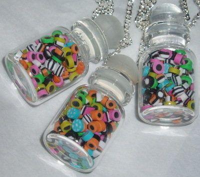 Bertie Allsorts Sweetie Jar Pendant Miniature Liquorice Sweets by Jude's Jewels