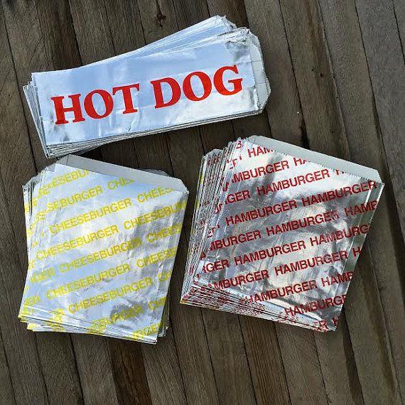 24 Foil Hamburger, 24 Cheeseburger and 48 Hot Dog Bags - Picnic, Carnival, Party Supply