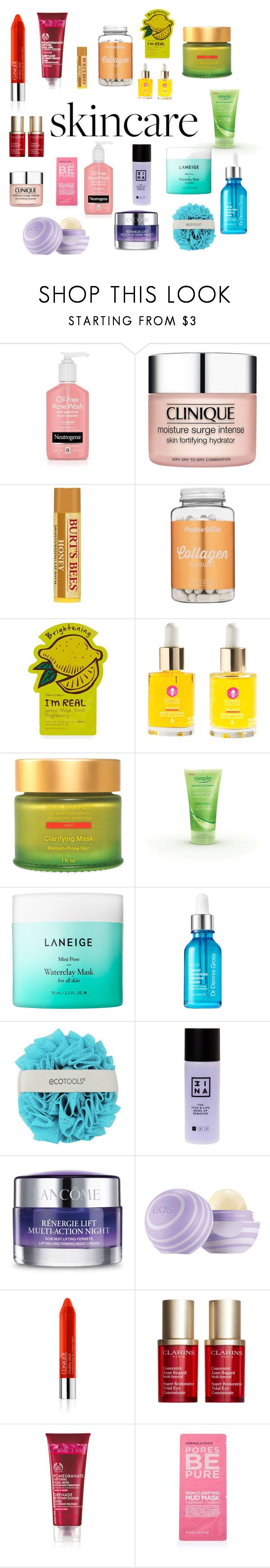 """""""Skincare!"""" by rskatz ❤ liked on Polyvore featuring beauty, SkinCare, Clinique, Tony Moly, Manuka Doctor, Tata Harper, Laneige, 3ina, Lancôme and Clarins"""