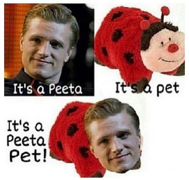 Why am I laughing so hard? << agreed. Idk why this is even funny to me. Just to see peeta like this... idk <<<< his facial expression is why its funny<<<I NEED ONE LOL