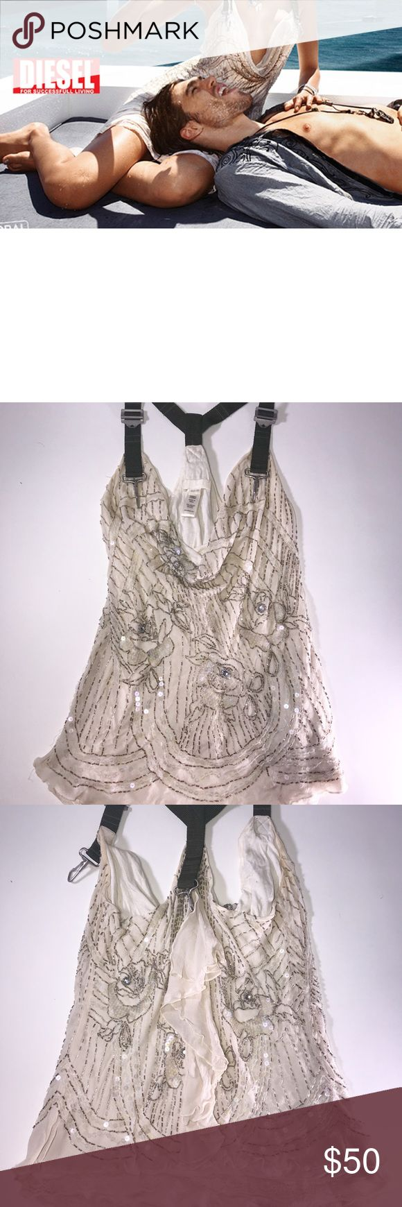 Diesel Silk Beaded Top This silk beaded Diesel top is so special and gorgeous. A few little beads missing (see photo) otherwise in great condition! Wear with jean shorts and sandals. Size XS Diesel Tops Tunics