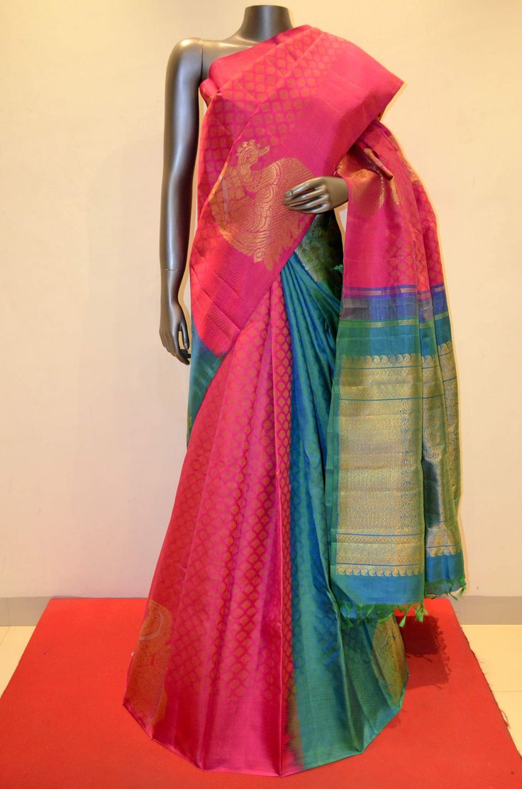 Kanjeevaram Silk Saree | Buy Stylish and Classic Peacock Designer Patli Kanjeevaram Online
