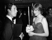 """June 24, 1981: Prince Charles and fiancé, Lady Diana Spencer at the West End Royal Premiere of the latest James Bond film, """"For Your Eyes Only""""."""