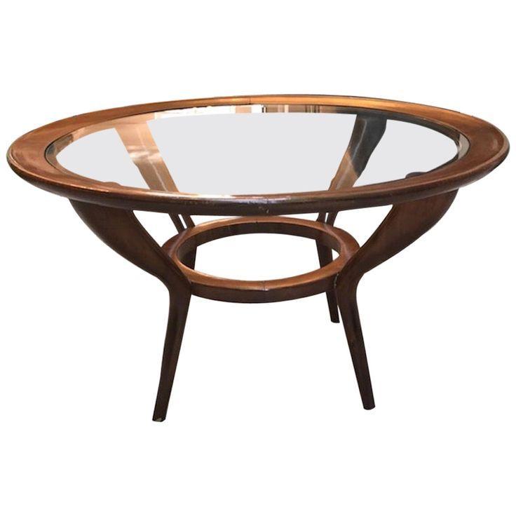 Guglielmo Ulrich Coffee Cocktail Table 1930 1935 Walnut Italian Mid Century Modern Wood Elegant Coffee Table Coffee Table Wood Round Glass Coffee Table