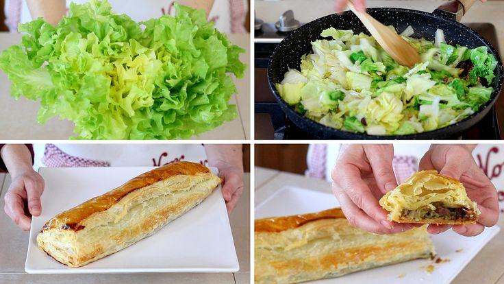 Strudel di scarola, pinoli e uvetta, uno strudel salato dal gusto insolito che stupirà i vostri amici. Una torta salata di verdure da