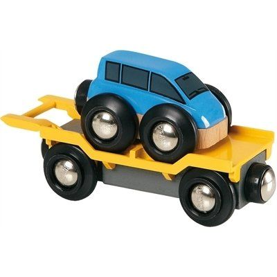 Brio Autotransporter mit Rampe 33577. Ergänze deine Brio Welt um diesen neuen Autotransporter und sein brandneues Brio Auto. Lass das Auto über die kippbare Wagenrampe hoch- und runterfahren.  http://www.briobahn.ch/brio-eisenbahn-autotransporter-mit-rampe-33577.html