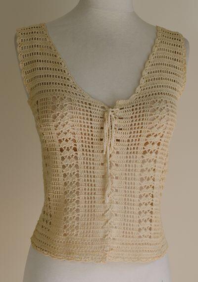 Vintage Ecru Crochet Corset Vest Lace-up Tank   - front view